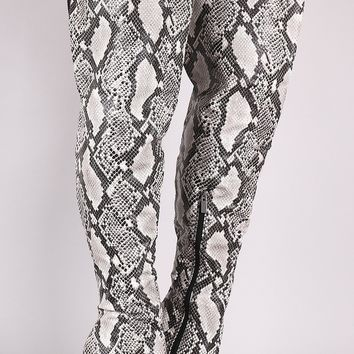 Anne Michelle Python Pointy Toe Slit Stiletto Over-The-Knee Boots