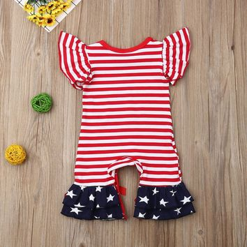 Stripes And Stars Romper Red Bows