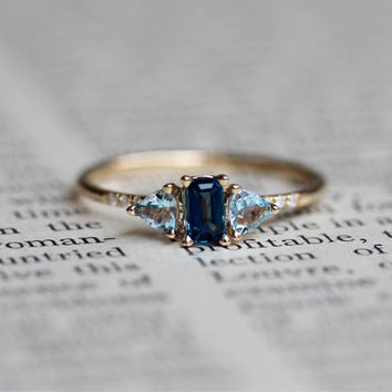 14K London Blue Topaz and Aquamarine Ocean Ring, Emerald Cut, Pave Diamonds, Trillion Cut, Thin Ring, Statement Ring, Blue Stone, C