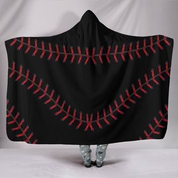 Black Baseball Hooded Blanket