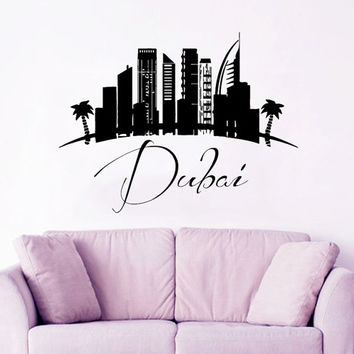 Dubai Wall Decal City Decal Skyline Silhouette UAE Landscape Vinyl Stickers Art Murals Home Bedroom Decor Living Room Interior Design KI93