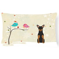 Christmas Presents between Friends Manchester Terrier Canvas Fabric Decorative Pillow BB2500PW1216