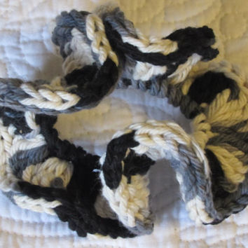 Crochet Hair Scrunchie in Cotton Yarn Black,White and Grey
