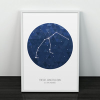 Perseus constellation - Constellation Art - Triangles Print - Ursa Major - Wall print - Printed art - Constellation print - Wall art - Blue