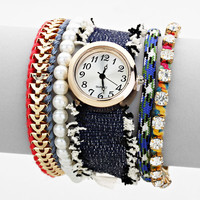 Magnetic Closure Fancy Cloth Layered Watch