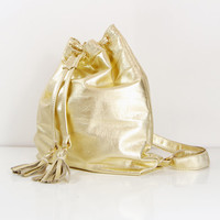 Chloe - Handmade Metallic Gold Leather Drawstring Backpack, Bag. SS14.