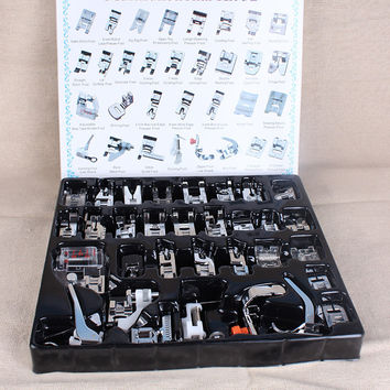 Best  Price 32pcs Domestic Sewing Machine Presser Foot Feet Kit Set With Box For Brother Singer Janom Free Shipping