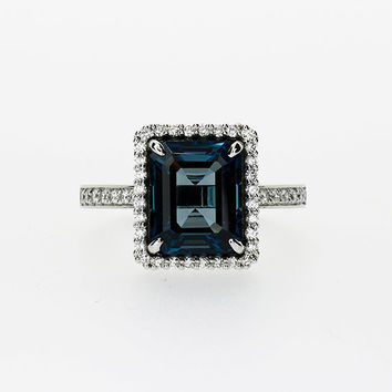 Emerald cut London blue topaz halo engagement ring with diamonds, white gold, halo engagement ring, london blue, teal engagement, custom