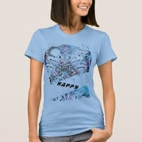 HAPPY art t-shirt a moon and modern patterns