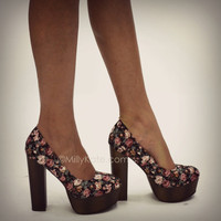 "Pink Floral Print Platform High Heel Shoes 5.5"" from Milly Kate"
