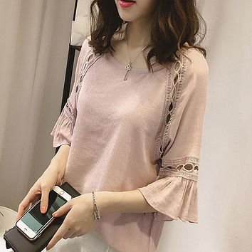 Women Blouse Shirt 2017 New Fashion Summer Chiffon Blouses Lace Hollow Shirts Flare Sleeve Tops Office Ladies Clothing Blusas