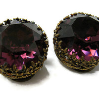 Vintage Purple Austrian Crystal Earrings Antiqued Gold Tone Round Filigree Setting Clip Back Diva Glam Bling