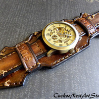 Leather Wrist Watch, Vintage looking Steampunk Men's watch, Leather Cuff, Bracelet Watch, Watch Cuff, Mens Gift, Aged Brown