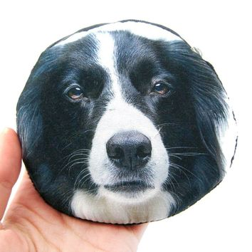 Border Collie Puppy Dog Face Shaped Soft Fabric Zipper Coin Purse Make Up Bag