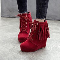 Platform Wedges Lace Up Suede Fringe Ankle Booties