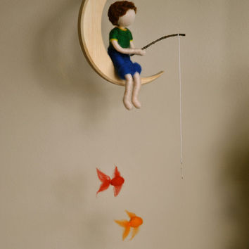 Boys Mobile Waldorf inspired needle felted : The fishing boy  in the moon with three fishes.