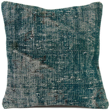 "Turquoise Handmade Overdyed Rug Pillow 20""x20"""
