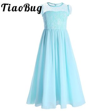 TiaoBug Girls Flower Dress Children Kids Beautiful Wedding Party Bridal Dress Girls Formal Party Pageant Floor Length Lace Dress