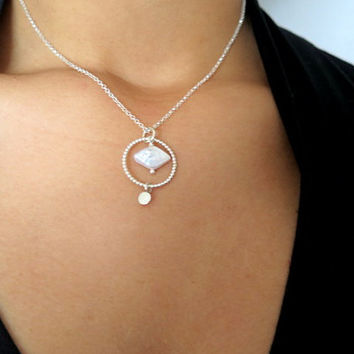 Your wedding jewelry, Pearl Bridesmaid Gift, Pearl Initial Necklace, Tiny Pearl necklace, Silver circle pendant necklace, Mother Pearl chain