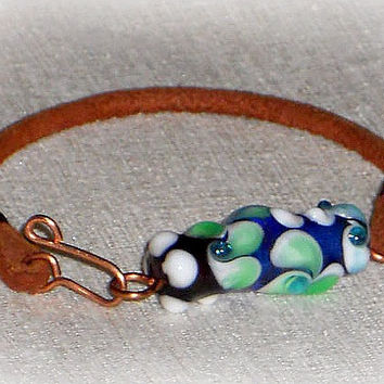 Brown Leather Bracelet, Lampwork Bead And Leather Bracelet, Copper Bracelet, Blue, Green, Purple, Floral, Lily Pads, BOTANICAL Collection