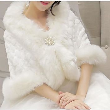 White Patchwork Faux Wool Pearl Elbow Sleeve Coat
