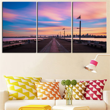 NO FRAME 3pcs pink pier landscape Printed Oil Painting On Canvas wall Painting for Home Decor Wall picture