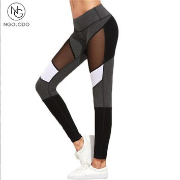 NGOLODO Women Mesh Fitness Leggings Skinny push up Black jeggings for girls stretch workout sexy trousers elastic Pants Ladies