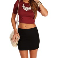 Wine Fitted Crop Top