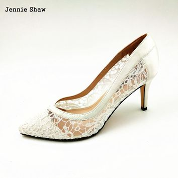 2017 Women Cutout Satin Fabric High Heels Sexy Lace Wedding Shoes Shallow Mouth Pointed Toe Genuine Leather Bride Pumps