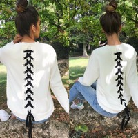Lace Up Back Sweater (White)