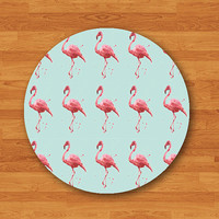 Mint Flamingo Bird MousePad Pink Natural Desk Deco Hipster Woman Circle Computer Pad Custom Personalized Christmas Gift Home Premier Prints