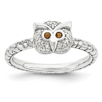 Sterling Silver, Garnet & .135 Ctw I3 H-I Diamond 7mm Owl Stack Ring