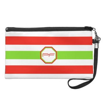 Stripes White Red Green Wristlet
