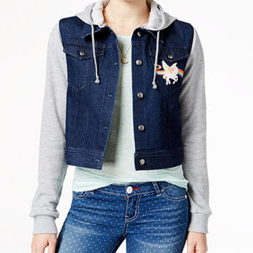 Lisa Frank Juniors' Unicorn Patch Hoodie Denim Jacket | macys.com