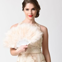 Vintage Style Ivory & Light Pink Marabou Feather Fan