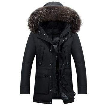 Thick Long Winter Down Coat Real Big Raccoon Fur Men
