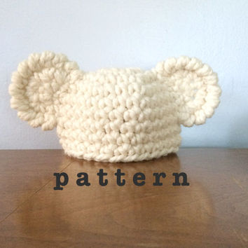 77f396d543c PATTERN Crochet Newborn Bear Hat - Crochet Baby Hat Pattern - Cr