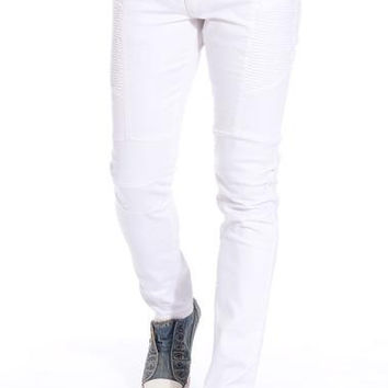 Ron Tomson White Skinny Washed Distressed Moto Jeans