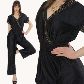 Vintage 70s metallic Deep V Black disco jumpsuit
