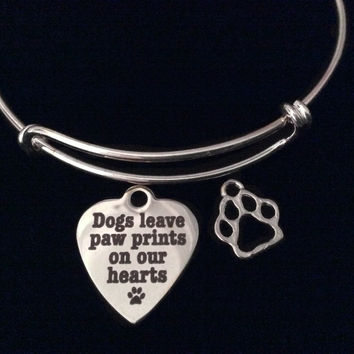 Dogs Leave Paw Prints on our Heart Charm Expandable Charm Bracelet Silver Adjustable Wire Bangle Animal Lover Gift