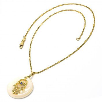 Gold Layered Fancy Necklace, Hand of God Design, with Mother of Pearl, Golden Tone