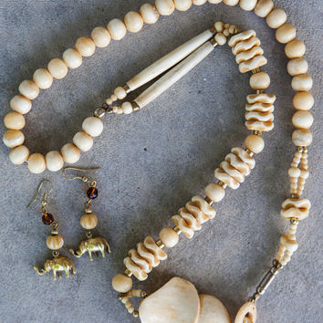Safari Jewelry, African Ivory Elephant Necklace & Gold Elephant Earrings, Vintage Hand Carved Bone Elephant Necklace, Tribal Necklace