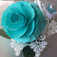 Tiffany Blue and lace wedding boutonniere by EverBeautifullyYours