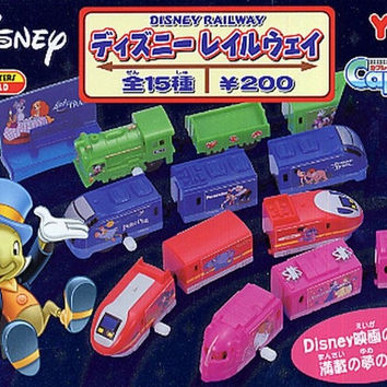 Yujin Disney Capsule World Railway Caprail Gashapon 15 Mini Figure Set Used