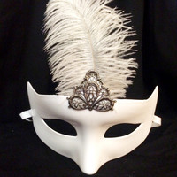 White-ostrich-feather-masquerade-costume-mask
