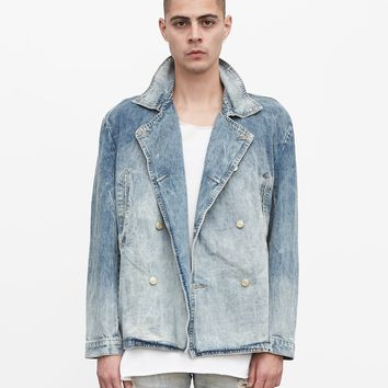 Denim Pea Coat in Light Sand Wash