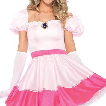 Fairy Princess Pink Short Puff Sleeve Ruffle Flare A Line Mini Dress Halloween Costume
