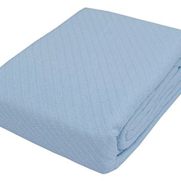 """TreeWool, 100% Soft Premium Cotton Thermal Blanket Light Weight Easy Care Soft Comfortable and Warm (Queen Size - 90"""" x 90"""", Twill Weave, Light Blue)"""