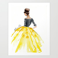 Sunny Spring Yellow Skirt Fashion Illustration Art Print by Elaine Biss