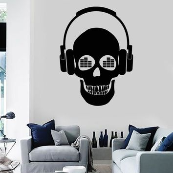Wall Stickers Vinyl Decal Skull Music in Headphones z1162